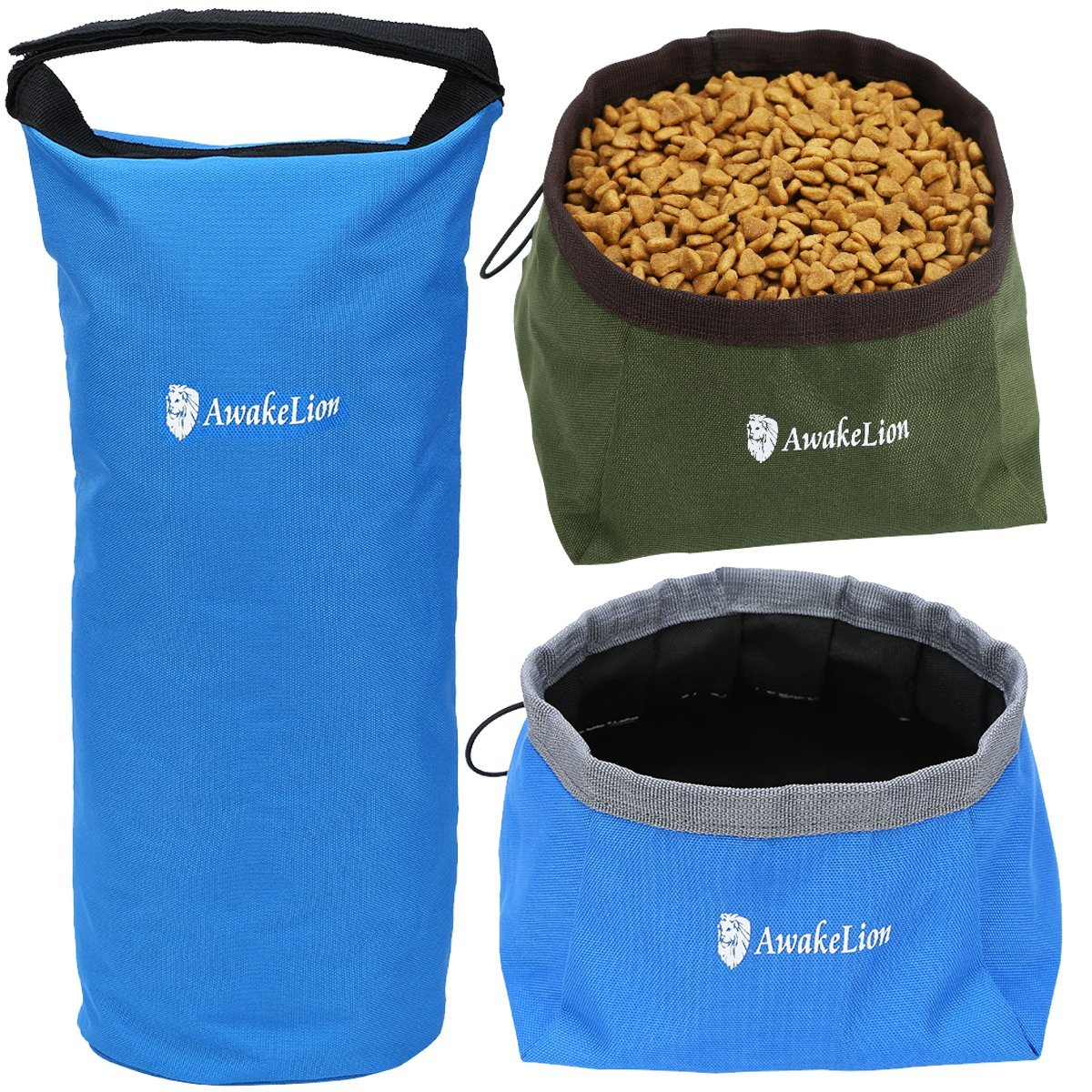 Awakelion Collapsible Dog Bowl Kit, Portable Travel Dog Food Carrier +2 Pack Dog Bowl For Food And Water -Perfect for Medium & Large Dog