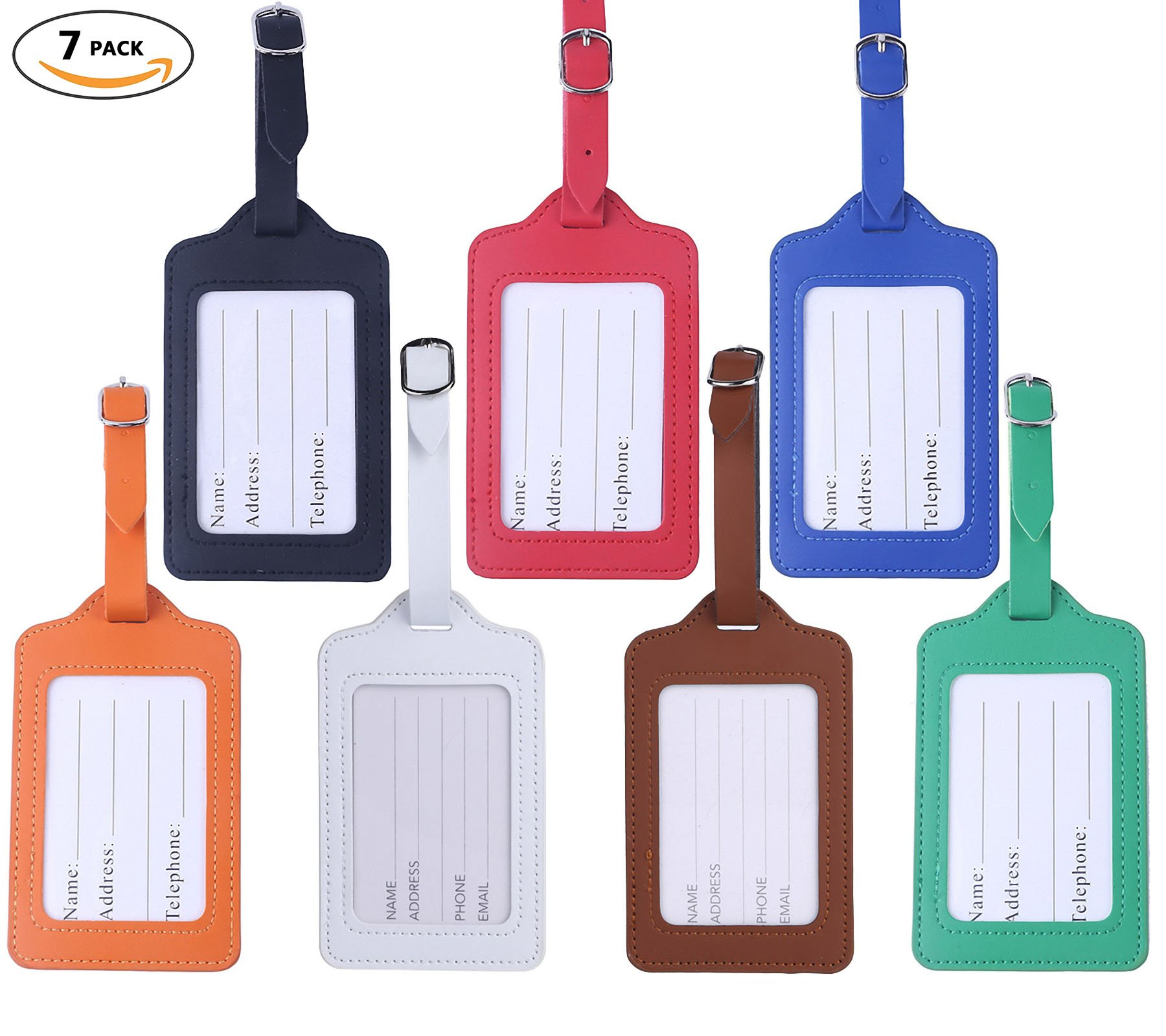 Travel Luggage Tags - Bulk PU Cruise Baggage Tag Set - Identifiers Labels For Suitcases 7 Pack