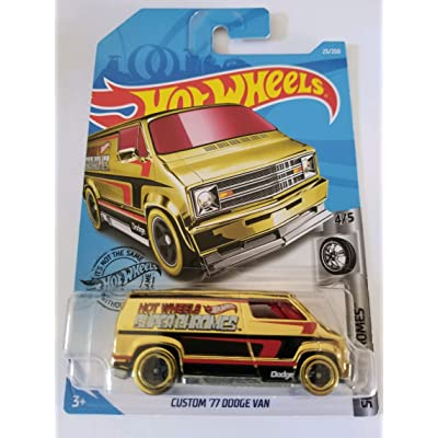 Hot Wheels 2020 Super Chromes Custom '77 Dodge Van, 23/250 Gold: Toys & Games