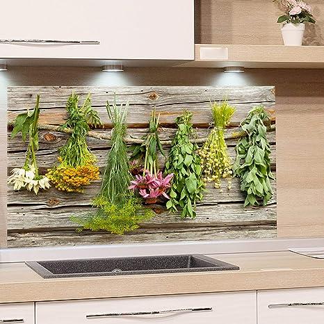 GRAZDesign Küchenrückwand Glas Kräuter - Spritzschutz Küche Herd -  Glasrückwand als Glasbild / 100x50cm