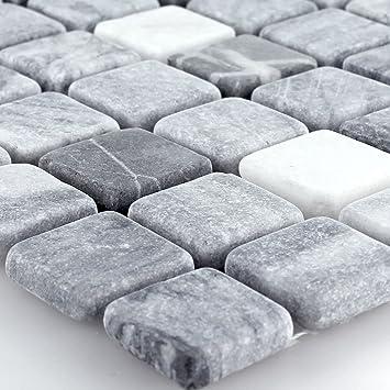 Marmormosaik Mosaik Fliesen Schwarz Grau 23x23x7mm Amazonde Baumarkt