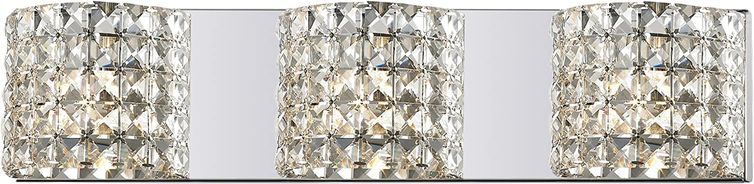 Z-Lite 867-3V Panache Three Light Crystal Vanity Light, Metal Frame, Chrome Finish and Crystal Shade of Crystal Material
