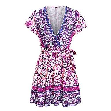d696badcd14 Sexy v-Neck Purple Women Dress Short Sleeve Sashes Summer Plus Size Dresses  Vintage Boho Print Mini Ladies 2019