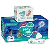 Pampers Easy Ups and Baby Wipes - Pull On Disposable Potty Training Underwear for Boys and Girls, Size 7 (5T-6T), 84 Count, O