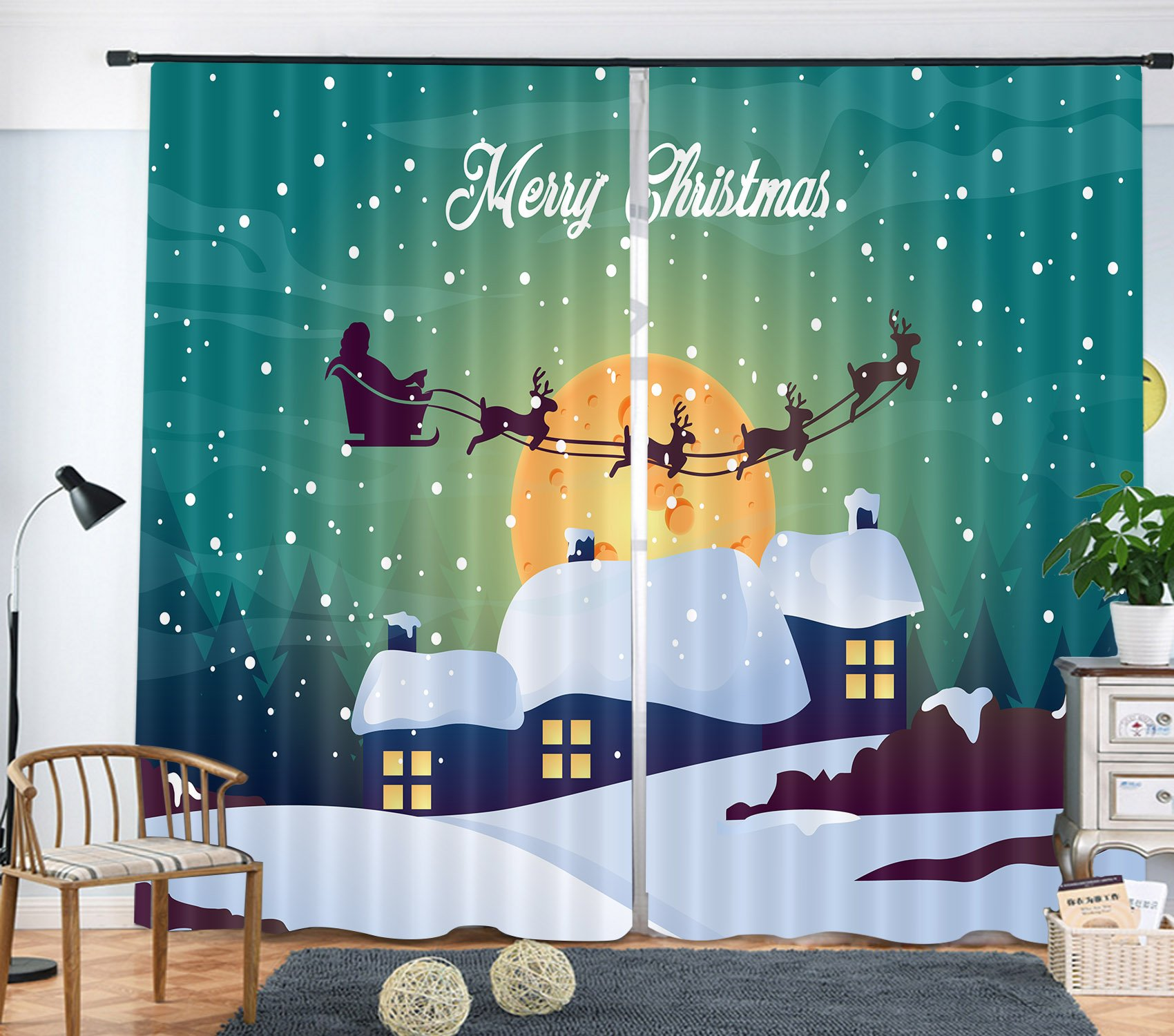 LB Holiday Decor Curtains for Kids Bedroom, Santa Claus and Reindeer in Christmas Night Snow, Decoration Drapes for Living Room, 80x95 Inches (2 Panels Size) , Green White Black