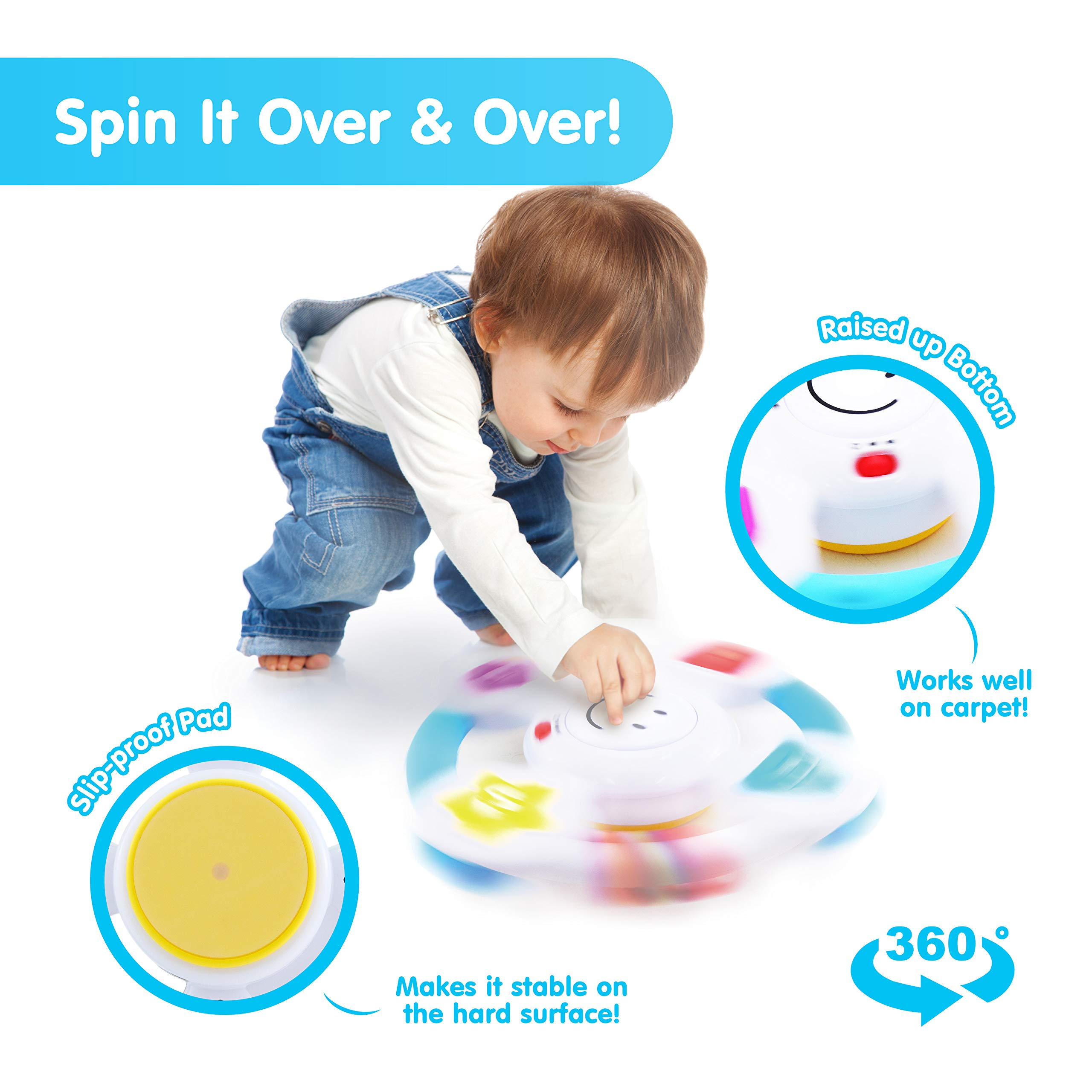 BEST LEARNING My Spin & Learn Steering Wheel - Interactive Educational Light-Up Toddler Toys for 6-36 Months Old Infants & Toddlers - Colors, Shapes, Emotions & Music Game for Babies by BEST LEARNING (Image #3)