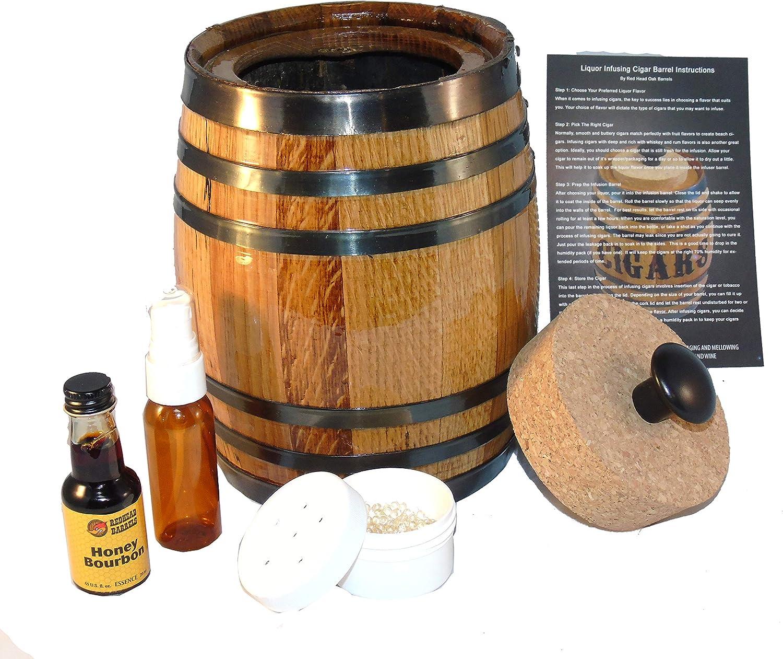 Red Head Barrels Barril de cigarros Humidor Kit con Esencia de sabores Alcohol para Dar Sabor a Sus cigarros en el hogar