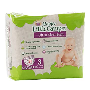 Happy Little Camper x Hilary Duff Ultra-Absorbent Hypoallergenic Natural Baby Diapers with Bio-Core Blend and Strong Latex and Chlorine-Free Protection 92 Count Size 3