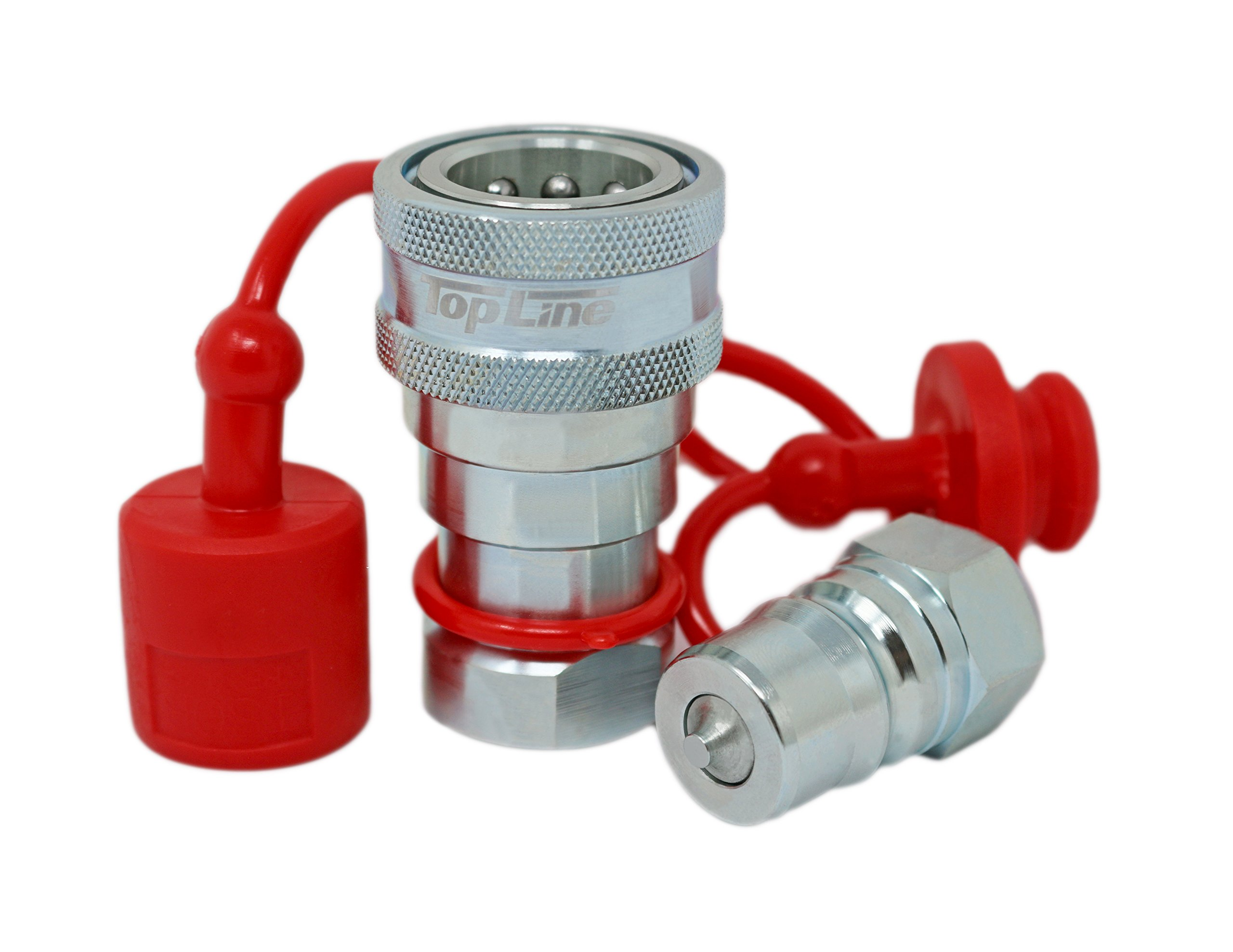 TL70 1/4'' NPT Thread Hydraulic Coupler Set ISO 7241-B 1/4 Body Poppet Bobcat Skid Steer Coupling with Dust Caps