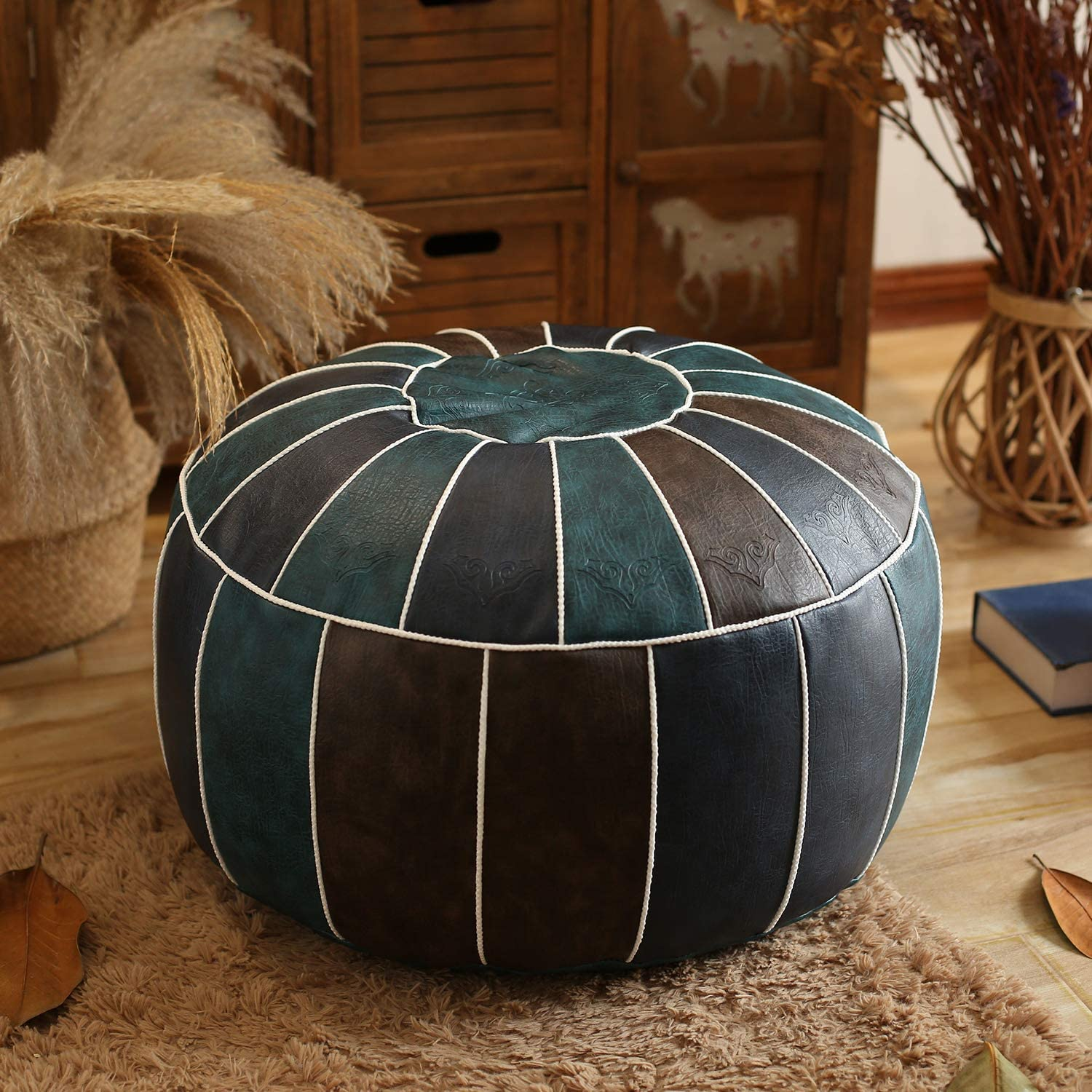 Leather Moroccan Pouf,Handmade Stuffed Embroidered Ottoman Footstool Home Decor Round Floor Cushion for Living Room Cafe-Blue 60x60x30cm(24x24x12inch)