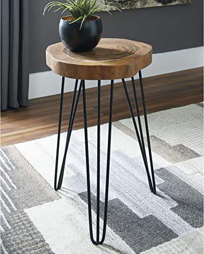 Signature Design by Ashley – Eversboro Accent Table – Faux Natural Edge – Brown Black