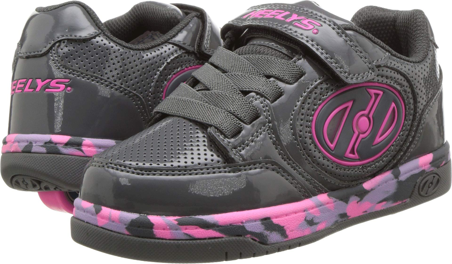 Heelys Kids' Plus X2 Lighted Tennis Shoe, Charcoal/Fuchsia/Purple Confetti, 2 M US Little Kid