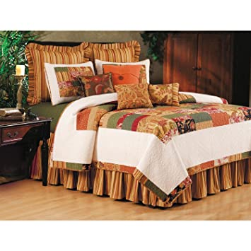 1 piece rust orange twin paisley stripe floral quilt brown brick red mossy green white