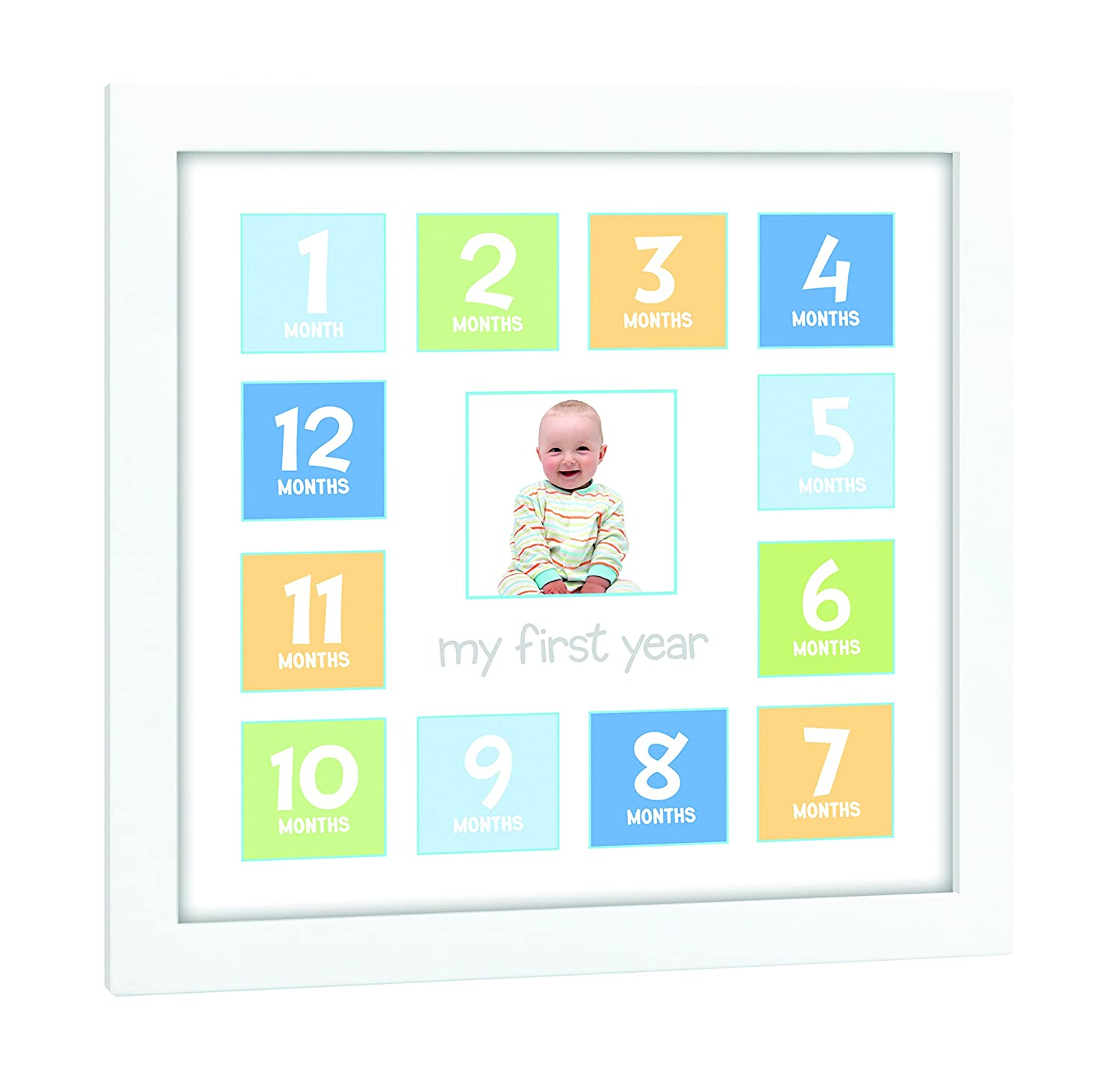 amazoncom tiny ideas babys first year keepsake picture photo frame bluegreenyellow baby - My First Year Photo Frame