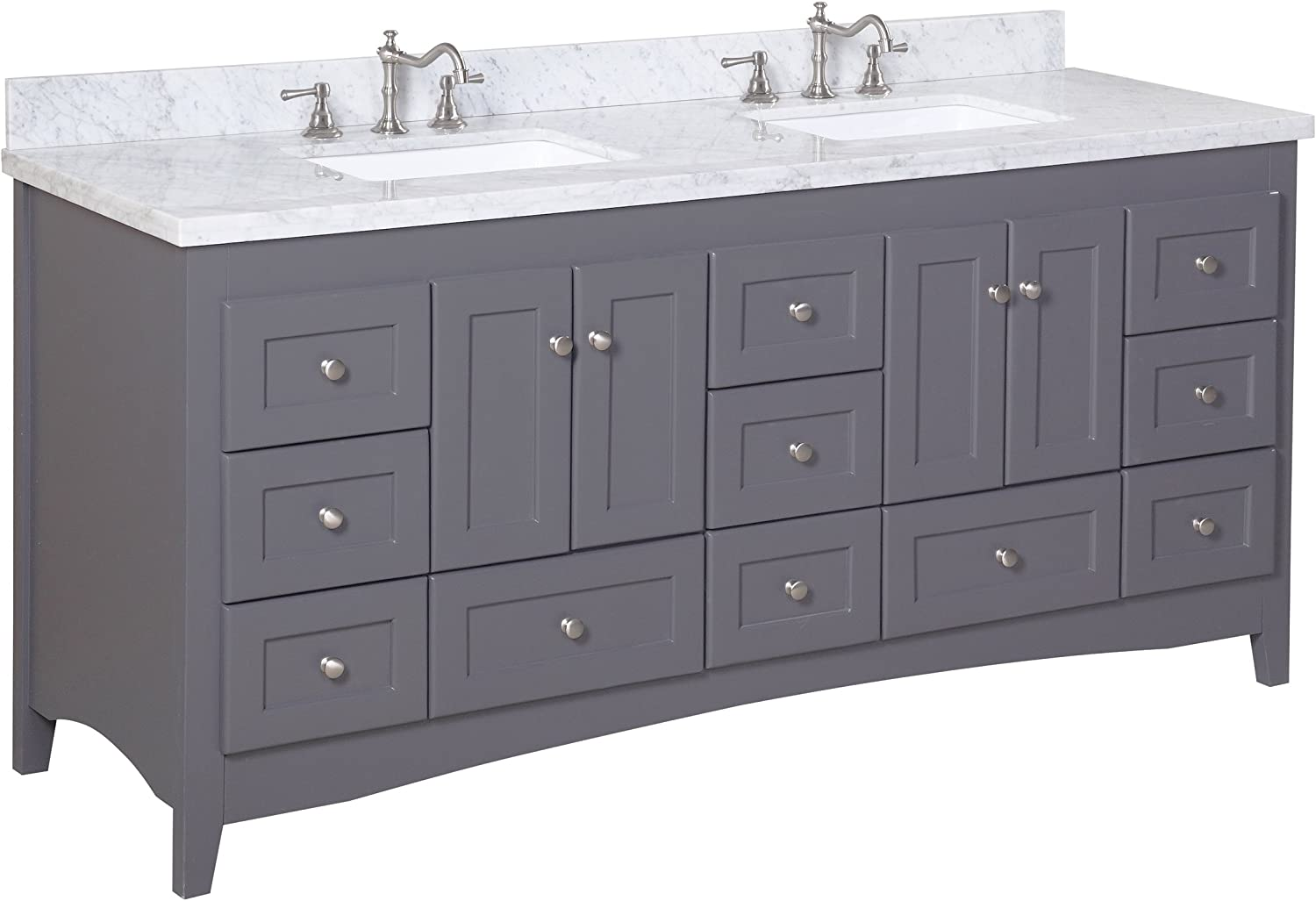 Abbey 72-inch Double Bathroom Vanity Carrara Charcoal Gray Includes Gray Shaker Style Cabinet with Soft Close Drawers, Authentic Italian Carrara Marble Top, and Rectangular Ceramic Sinks