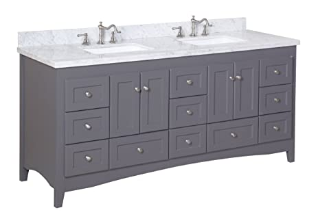 kitchen bath collection kbc3872gycarr abbey bathroom vanity with marble countertop cabinet with soft close function - Bathroom Collections Furniture
