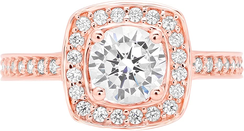 Clara Pucci 1.22 ct Brilliant Round Cut CZ Designer Double Halo Solitaire Ring in Solid 14k Yellow Gold