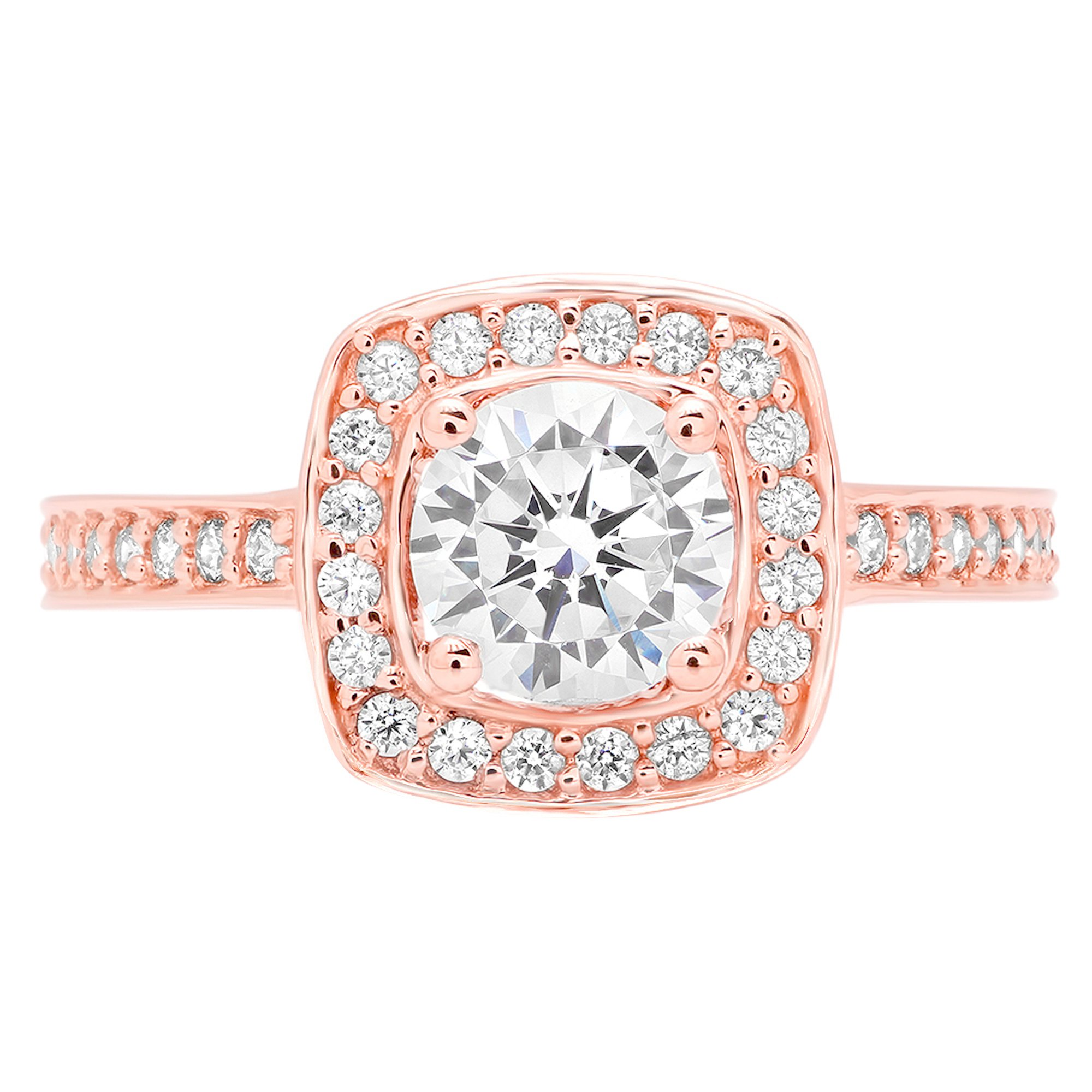 Brilliant Round Cut Solitaire Halo Engagement Statement Anniversary Wedding Bridal Promise Ring in Solid 14k Rose Gold for Women 1.16 ct, 9.5