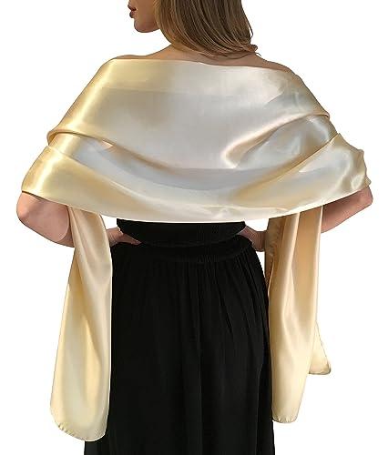 Silky Satin stola dell'involucro dello scialle sciarpa Pashmina per la sposa damigelle in Avorio Bia...