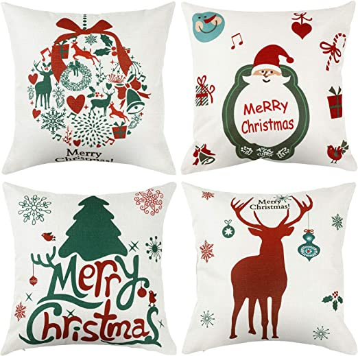 Jetec 4 Pieces Pillow Case Throw Cushion Cover Cotton Linen Pillow Decorations for Thanksgiving Christmas Autumn Themed Party Decor, 18 by 18 inch
