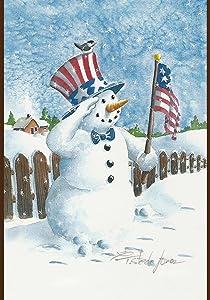 Toland Home Garden Uncle Snowman 12.5 x 18 Inch Decorative Winter Snow Patriotic Salute USA Garden Flag