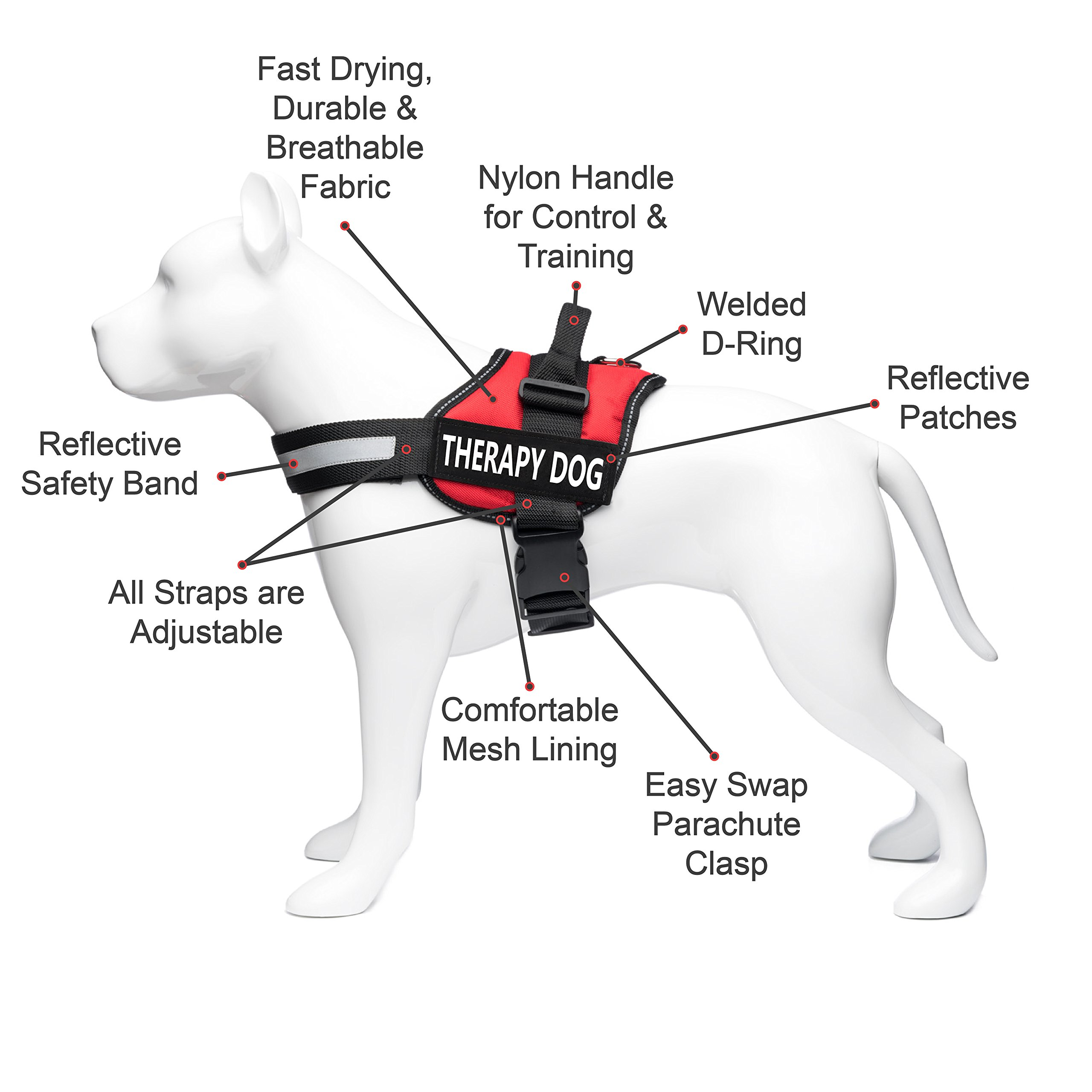 Industrial Puppy Therapy Dog Vest Harness, Training Dog Vest with 2 Reflective THERAPY DOG Hook and Loop Patches -Attach Animal Collar Tag, Patch, or Small ID Card for Dogs by Industrial Puppy (Image #4)