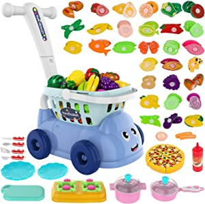 BINGGOO Kids Shopping Cart Play Food Set Toy - 44 PCS Kitchen Pretend Food Toys for Kids - Groceries Carts for Toddler, Include Fruits Vegetables Pizza Knife Mini Dishes