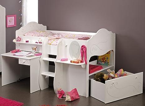 Lit Mezzanine Pour Chambre De Fille Lit 1 Place 90 X 200 Cm