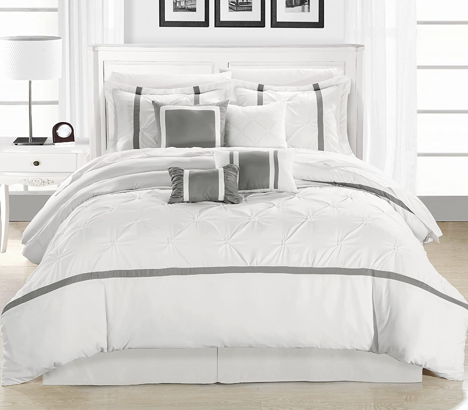 Amazon.com: Chic Home Vermont 8-Piece Comforter Set, Queen, White ...