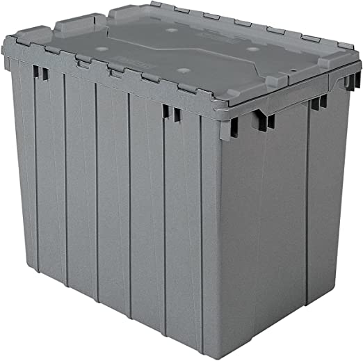 Akro Mils 39170 Plastic Storage And Distribution Container Tote With Hinged Lid 21 5 Inch L By 15 Inch W By 17 Inch H Grey Pack Of 3