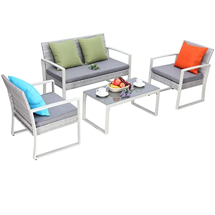 Do4U 4-Piece Set Rattan Patio Furniture Set Outdoor Sofa Wicker Conversation Set Weather Resistant Cushions Tempered Glass Tabletop| Porch, Backyard, ...