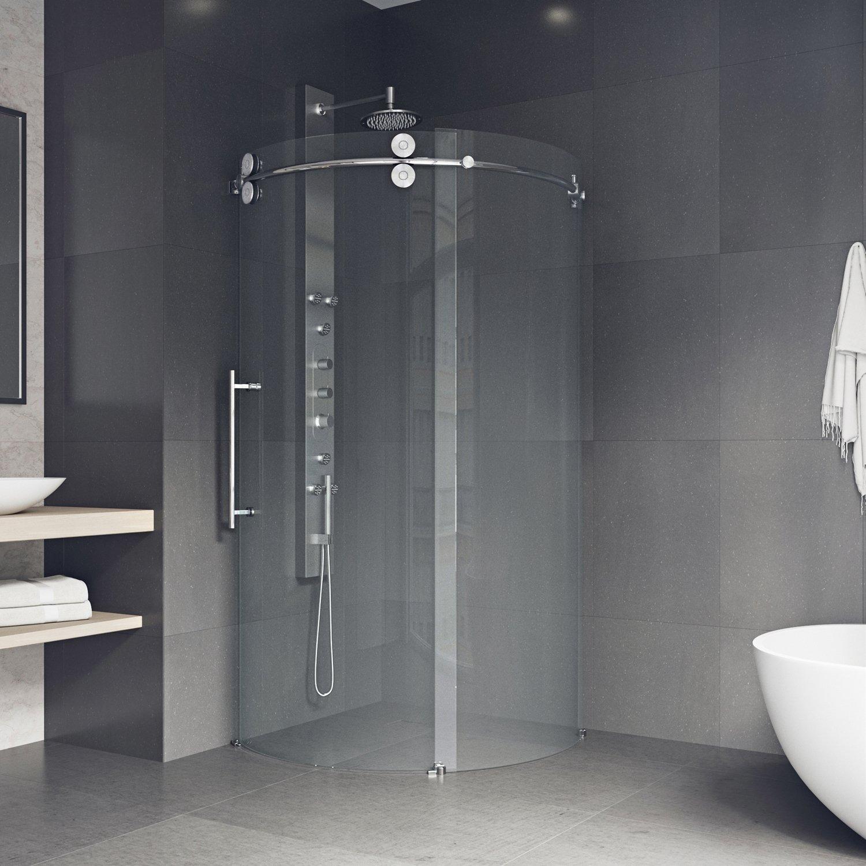 VIGO Sanibel 36 x 36-in. Frameless Round Sliding Shower Enclosure ...