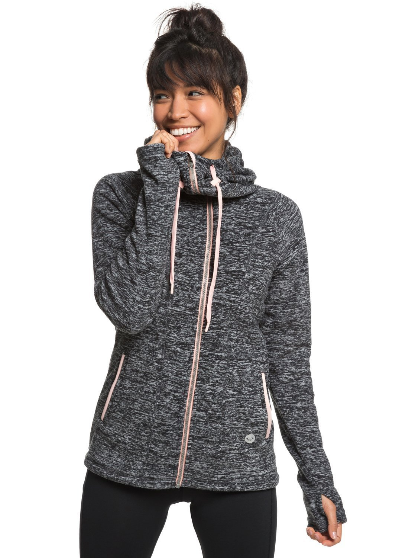 Roxy Junior's Electric Feeling Zip-up Fleece Jacket, Charcoal Heather, XL
