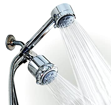 WantBa High Pressure Chrome 5 Setting Massage Spa Shower Head Combo With 6  Ft Shower Hose