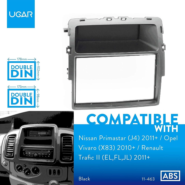 J4 UGAR 11-463 Kit de Fascia de Montaje para instalaci/ón de Radio Compatible con Nissan Primastar EL,FL,JL 2011+ 2011+ // Opel Vivaro 2010+ // Renault Trafic II X83