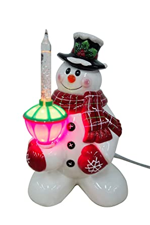 snowman night light with glitter bubble light