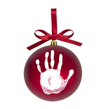 Amazon Com Tiny Ideas Baby S Print 1st Holiday Keepsake Ball Ornament With Included Paint For Handprint Diy Christmas Ornament Red Baby