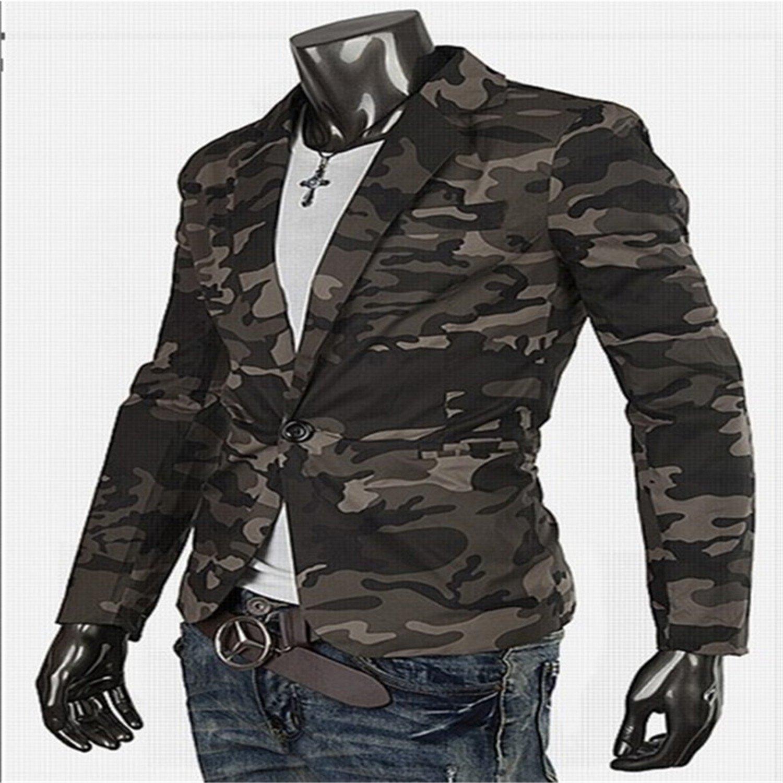 48105e4010c9 Thadensama Blazer Men Military Style Camouflage Fashion Trade Cotton Casual  Slim Fit Small Suit Coat Mens Blazer Jacket at Amazon Men's Clothing store: