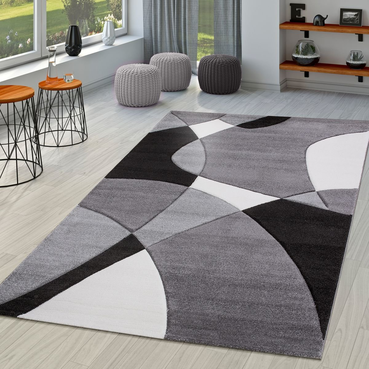 TT Home Modern Rug Living Room Abstract Contour Cut In Black Grey White, Size:60x110 cm