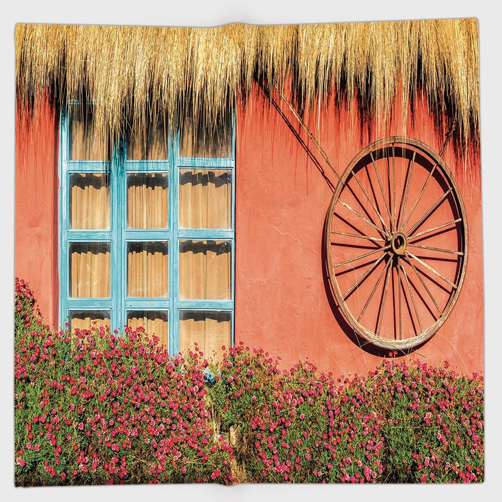 Cotton Microfiber Hand Towel,Barn Wood Wagon Wheel,Country House in Ecuador Red Wall Window Summer Flowers Straw Roof Decorative,Multicolor,for Kids, Teens, and Adults,One Side Printing
