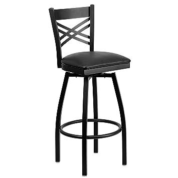 Flash Furniture HERCULES Series Black U0027u0027Xu0027u0027 Back Swivel Metal Barstool    Black