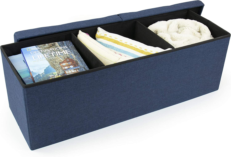 Blue Humble Crew Storage Ottoman Bench