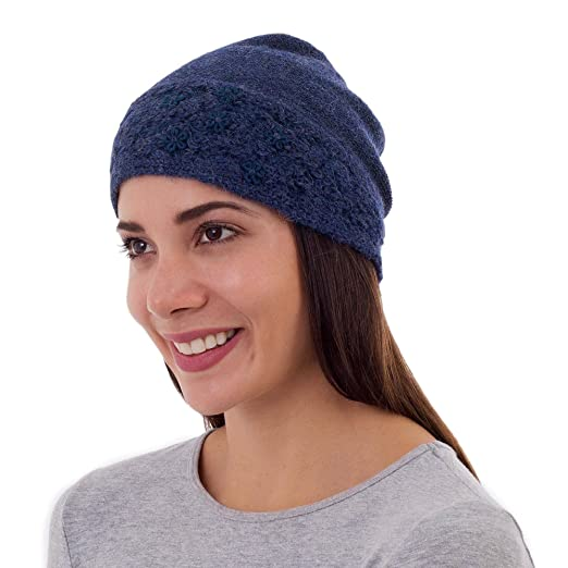 25ab6b4c8cd Image Unavailable. Image not available for. Color  NOVICA Blue Embroidered  100% Alpaca Wool Hat