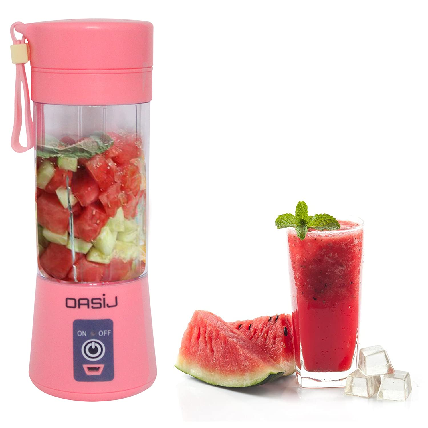 OASIJ Portable USB Rechargeable Juicer and Blender 380ml. Personal Sized Fruit and Vegetable Mixing Juicer Cup. (Blue)