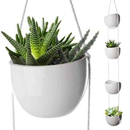 4-Tier Hanging Plant Holder, White Ceramic Planters for Wall & Ceiling,  Decorative Planter Pots Outdoor & Indoor Use, Succulent Wall Planters,  40-inch