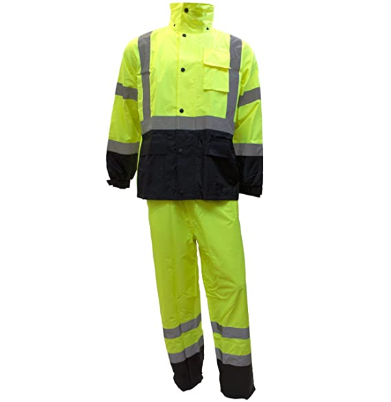 RK Safety Class 3 Rain suit, Jacket, Pants High Visibility Reflective Black Bottom RW-CLA3-LM11 (Extra Large, Lime)