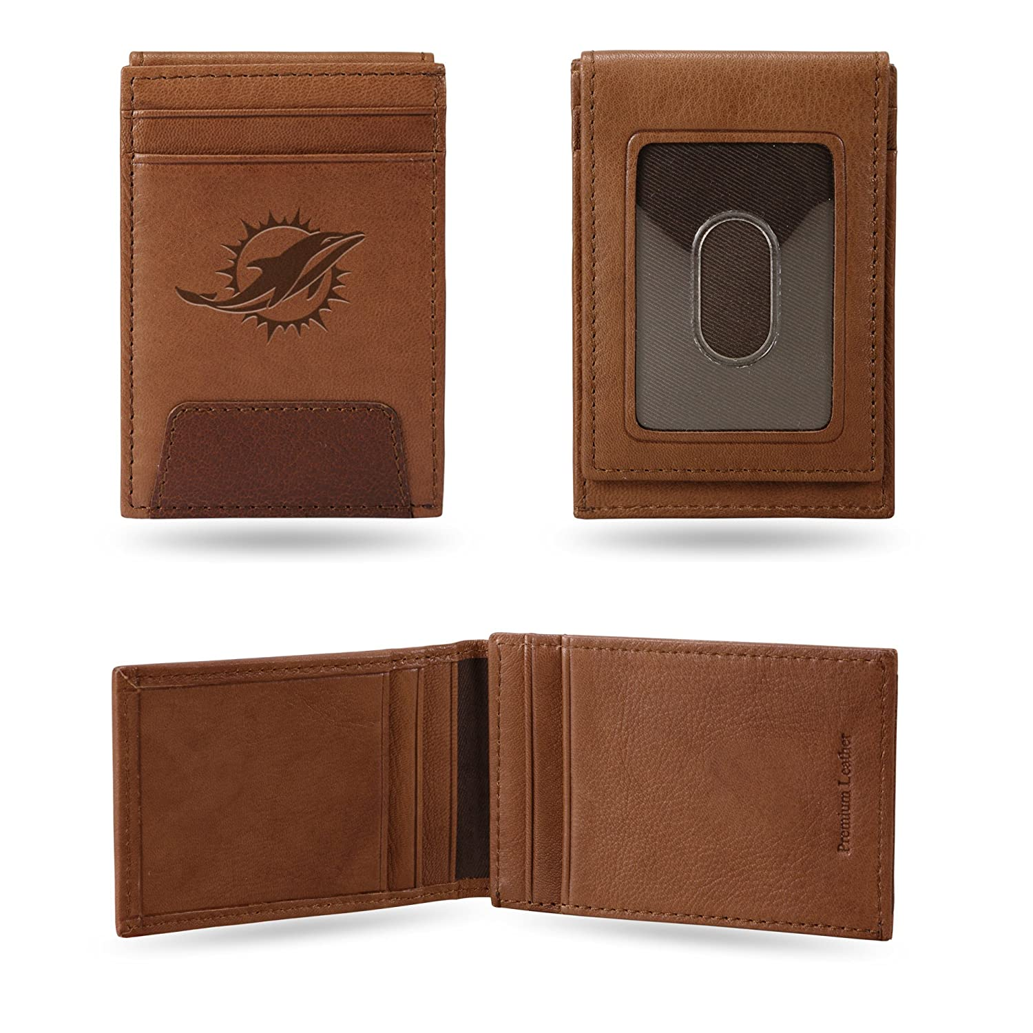 Rico Industries, Inc. Miami Dolphins Premium Brown Leather Money Clip Front Pocket Wallet Embossed Football