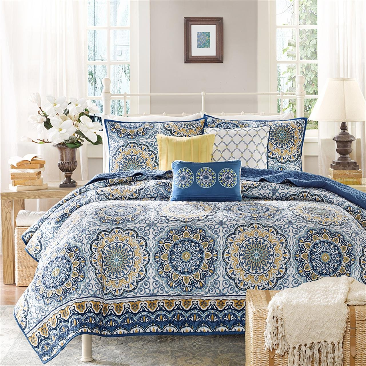 Amazon.com: Madison Park   Tangiers 6 Piece Coverlet Set   Blue   Cal King    Medallion Pattern   Includes 1 Coverlet, 2 King Shams, 3 Decorative  Pillows: ...