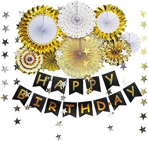ZoZac Happy Birthday Banner Black Gold for Men,Birthday Party Decorations for Men,Birthday Party Decor,Home Decor (Black Gold)