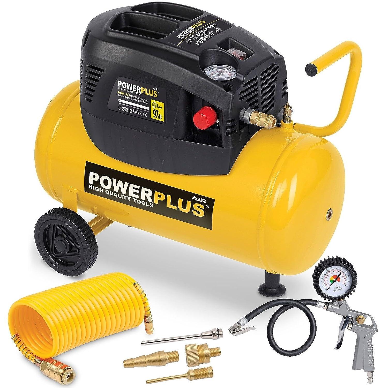 PowerPlus POWX1730 Compresor 1100W 24L+6Uds Sin Aceite: Amazon.es: Bricolaje y herramientas